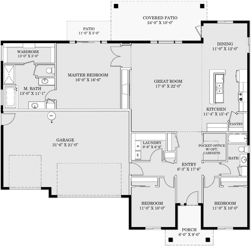 Amber Brook Floor Plan 870w